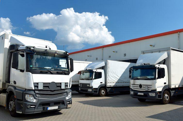 Camiones de transporte en su almacén